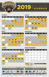 picture regarding New York Yankees Printable Schedule known as Bradenton Marauders Announce 2019 Program for 10th Year