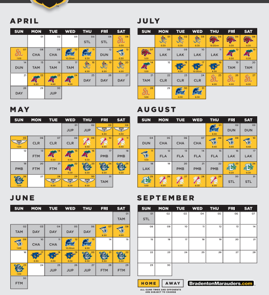 graphic relating to Minnesota Twins Printable Schedule referred to as Bradenton Marauders Announce 2019 Routine for 10th Time